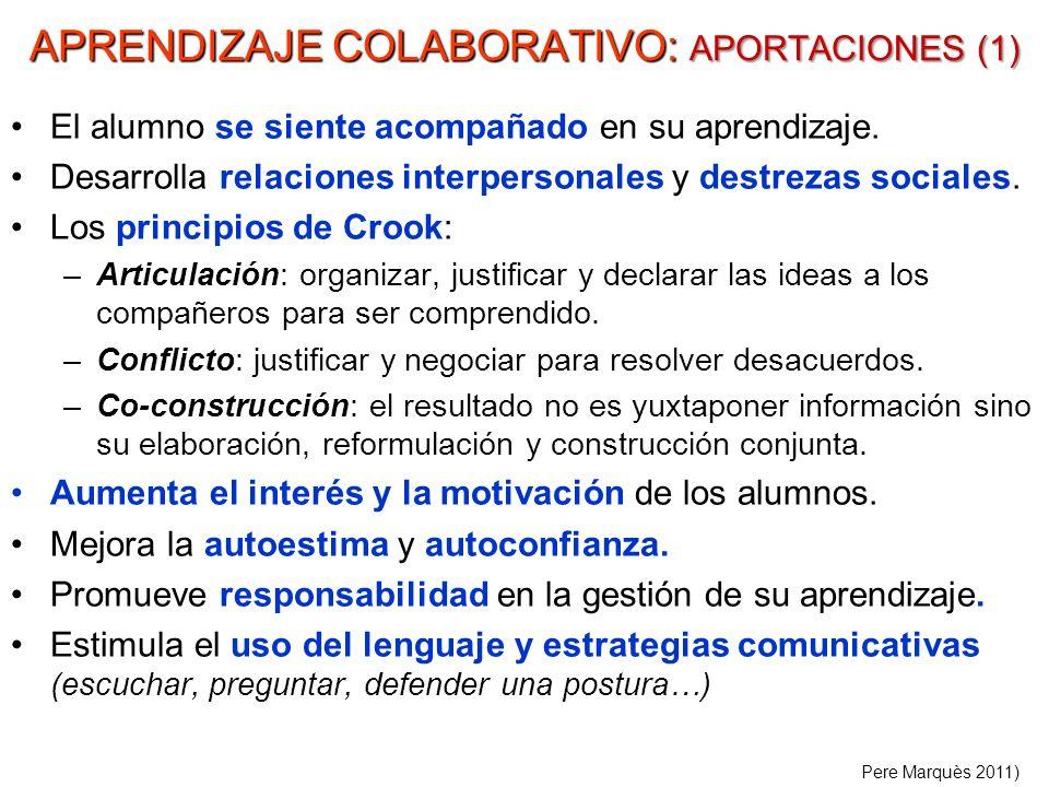 APRENDIZAJE COLABORATIVO: APORTACIONES (1) El alumno se siente acompañado en su aprendizaje. Desarrolla relaciones interpersonales y destrezas sociale