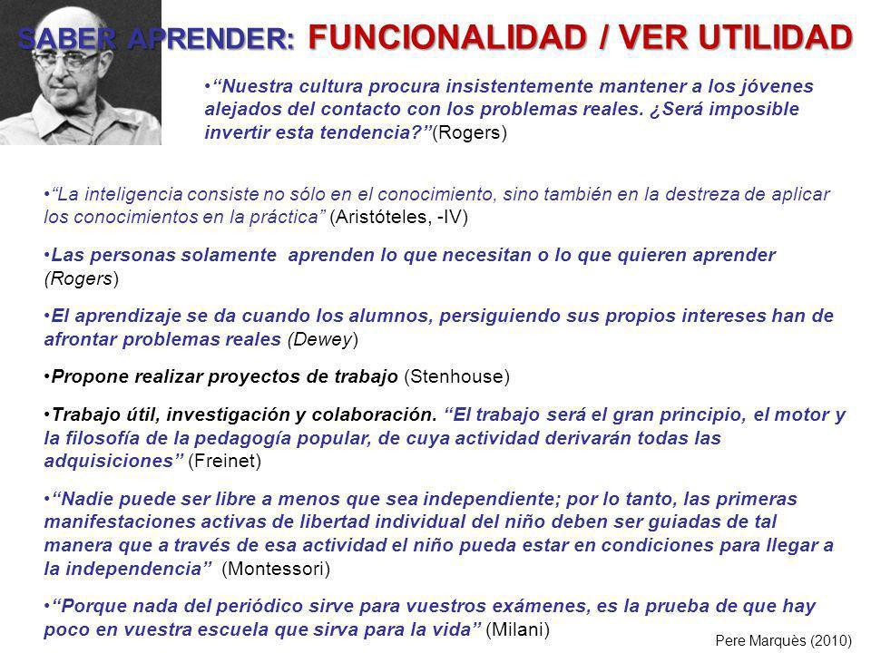 SABER APRENDER: FUNCIONALIDAD / VER UTILIDAD Pere Marquès (2010) La inteligencia consiste no sólo en el conocimiento, sino también en la destreza de a