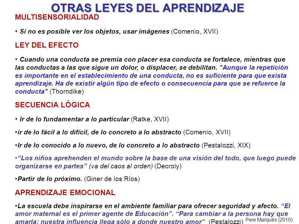 OTRAS LEYES DEL APRENDIZAJE Pere Marquès (2010) MULTISENSORIALIDAD Si no es posible ver los objetos, usar imágenes (Comenio, XVII) LEY DEL EFECTO Cuan