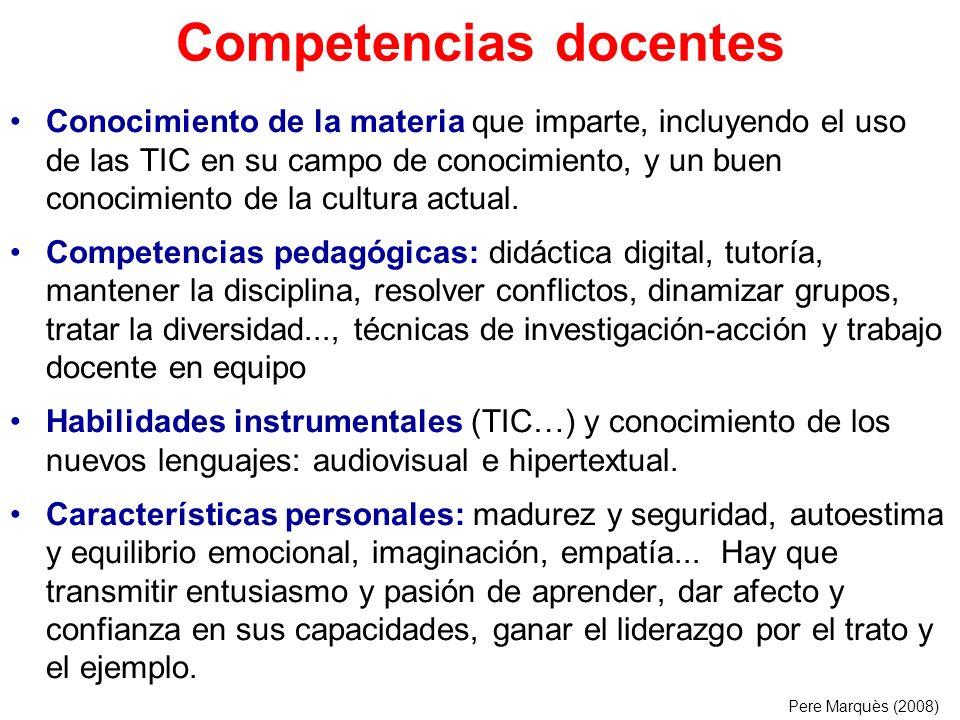 Competencias docentes Conocimiento de la materia que imparte, incluyendo el uso de las TIC en su campo de conocimiento, y un buen conocimiento de la c