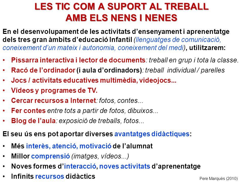 LES TIC COM A SUPORT AL TREBALL AMB ELS NENS I NENES Pissarra interactiva i lector de documents: treball en grup i tota la classe.