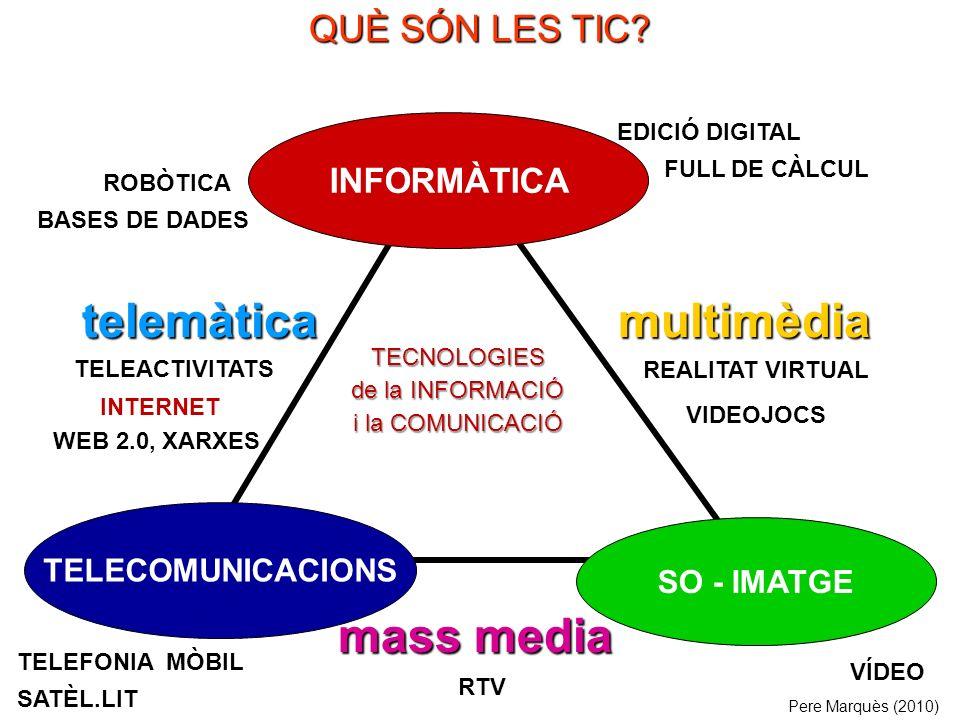 SO - IMATGE INFORMÀTICA mass media multimèdiatelemàtica TELEACTIVITATS REALITAT VIRTUAL VIDEOJOCS RTV TELEFONIA MÒBIL SATÈL.LIT ROBÒTICA BASES DE DADES EDICIÓ DIGITAL FULL DE CÀLCUL TELECOMUNICACIONS VÍDEO Pere Marquès (2010) INTERNET QUÈ SÓN LES TIC.