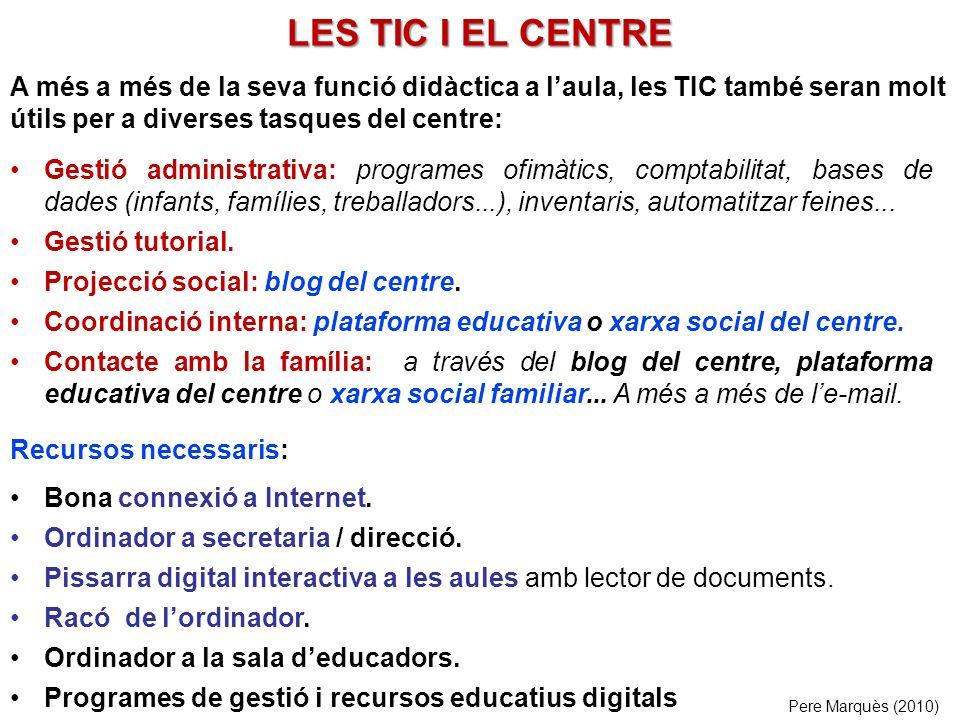 LES TIC I EL CENTRE Gestió administrativa: programes ofimàtics, comptabilitat, bases de dades (infants, famílies, treballadors...), inventaris, automatitzar feines...