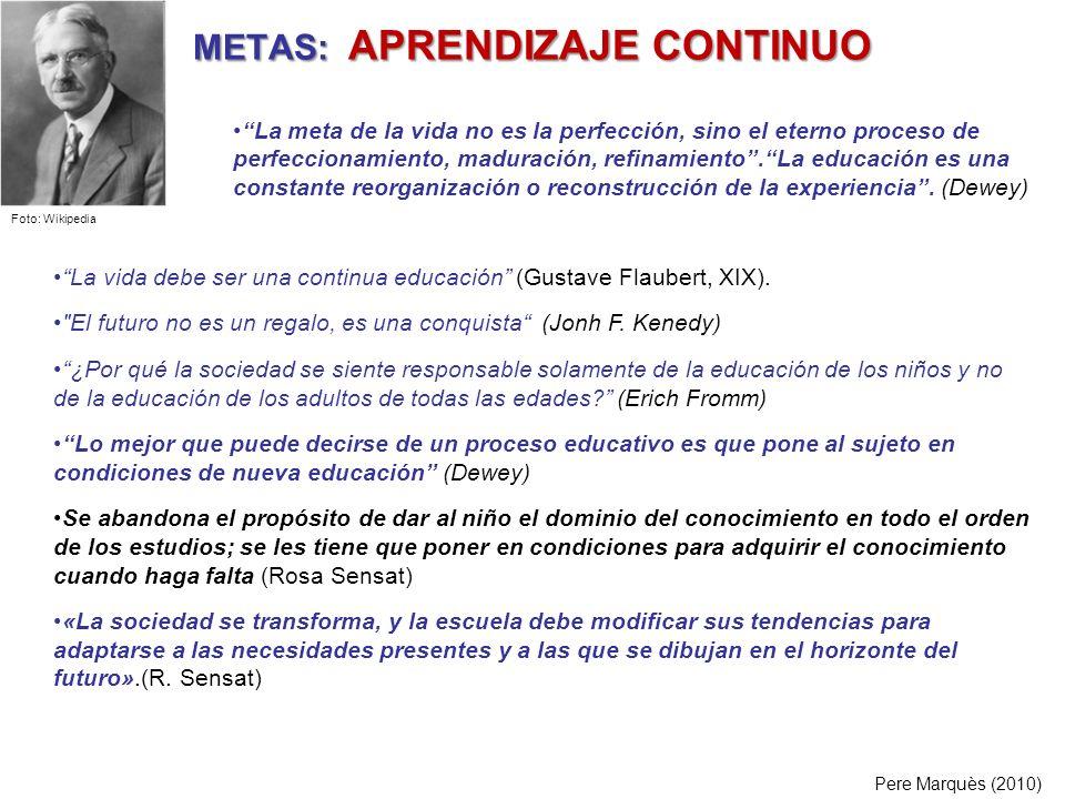 METAS: APRENDIZAJE CONTINUO La vida debe ser una continua educación (Gustave Flaubert, XIX).