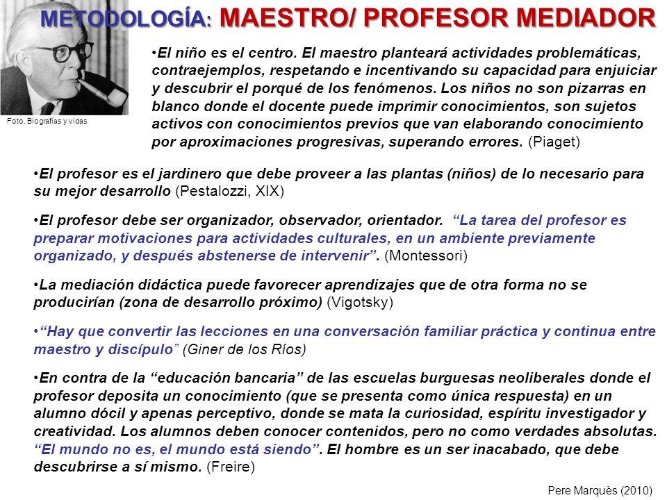 METODOLOGÍA : MAESTRO/ PROFESOR MEDIADOR El profesor es el jardinero que debe proveer a las plantas (niños) de lo necesario para su mejor desarrollo (