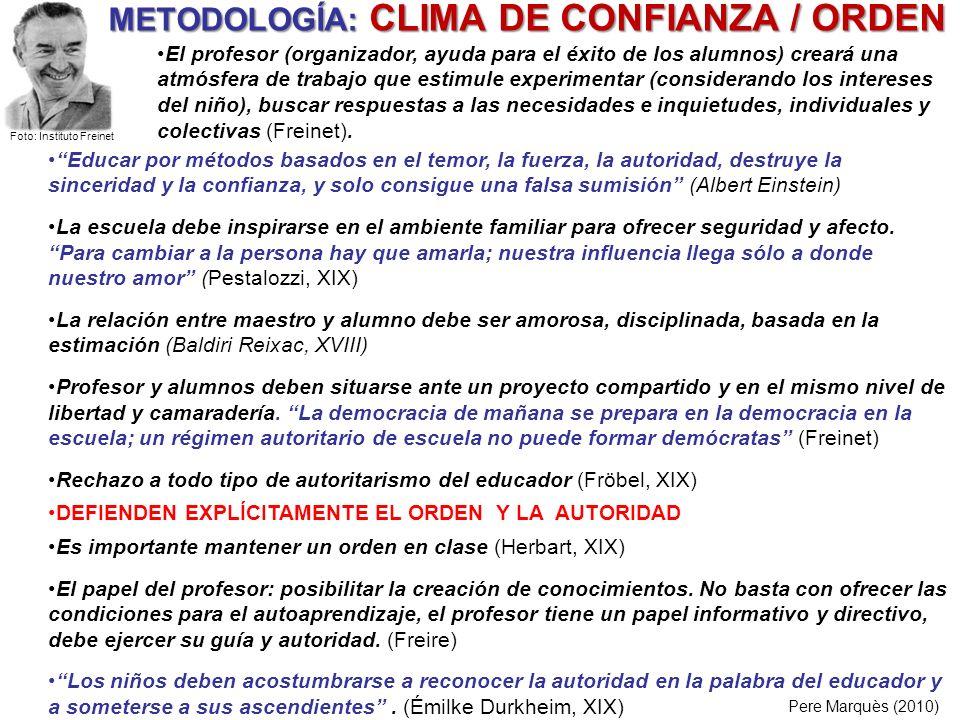 METODOLOGÍA: CLIMA DE CONFIANZA / ORDEN Pere Marquès (2010) Educar por métodos basados en el temor, la fuerza, la autoridad, destruye la sinceridad y