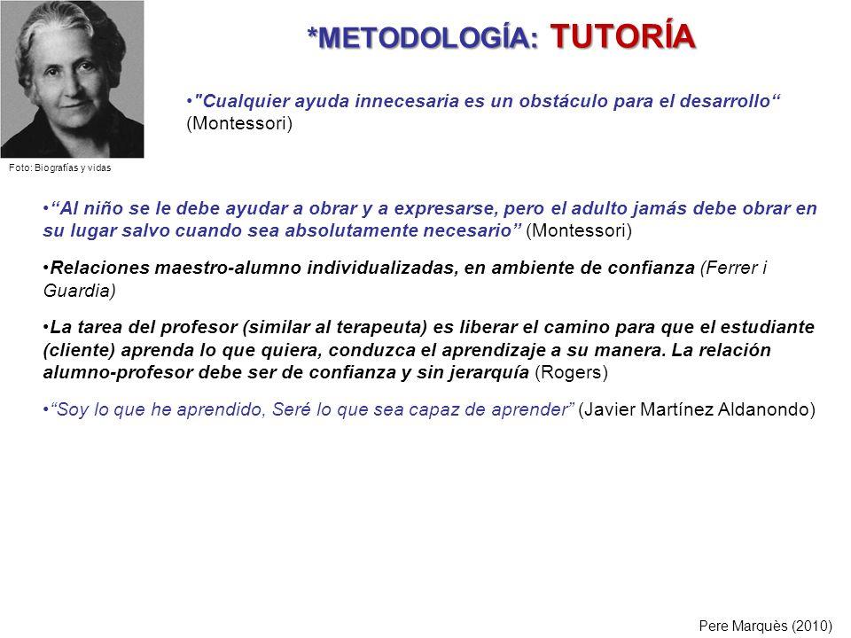 *METODOLOGÍA: TUTORÍA *METODOLOGÍA: TUTORÍA Pere Marquès (2010) Al niño se le debe ayudar a obrar y a expresarse, pero el adulto jamás debe obrar en s