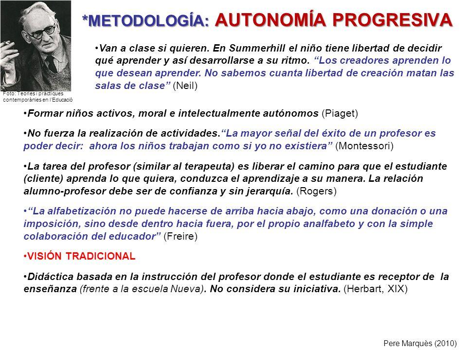 *METODOLOGÍA: AUTONOMÍA PROGRESIVA Pere Marquès (2010) Formar niños activos, moral e intelectualmente autónomos (Piaget) No fuerza la realización de a