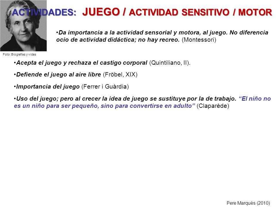 ACTIVIDADES: JUEGO / ACTIVIDAD SENSITIVO / MOTOR Pere Marquès (2010) Acepta el juego y rechaza el castigo corporal (Quintiliano, II). Defiende el jueg