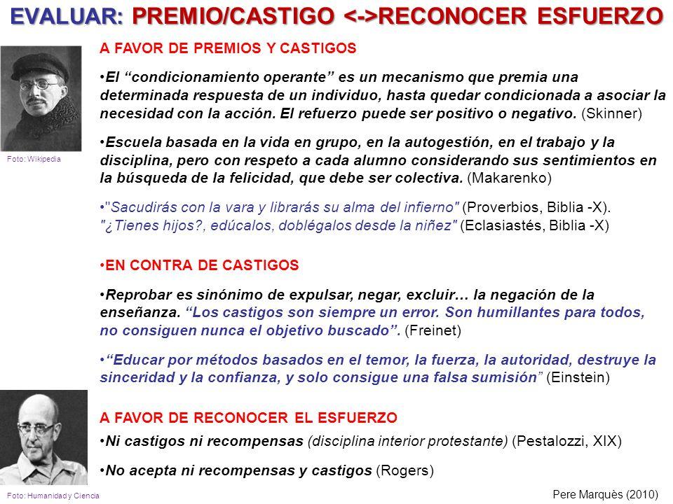 EVALUAR: PREMIO/CASTIGO RECONOCER ESFUERZO Pere Marquès (2010) A FAVOR DE PREMIOS Y CASTIGOS El condicionamiento operante es un mecanismo que premia u