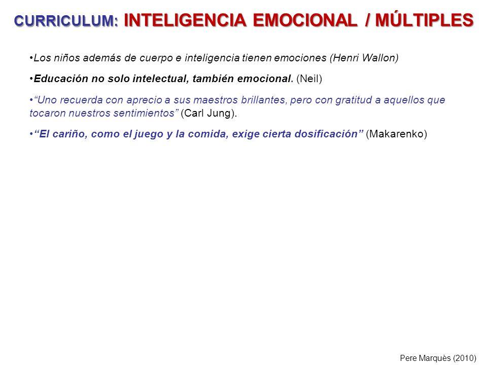 CURRICULUM: INTELIGENCIA EMOCIONAL / MÚLTIPLES Los niños además de cuerpo e inteligencia tienen emociones (Henri Wallon) Educación no solo intelectual