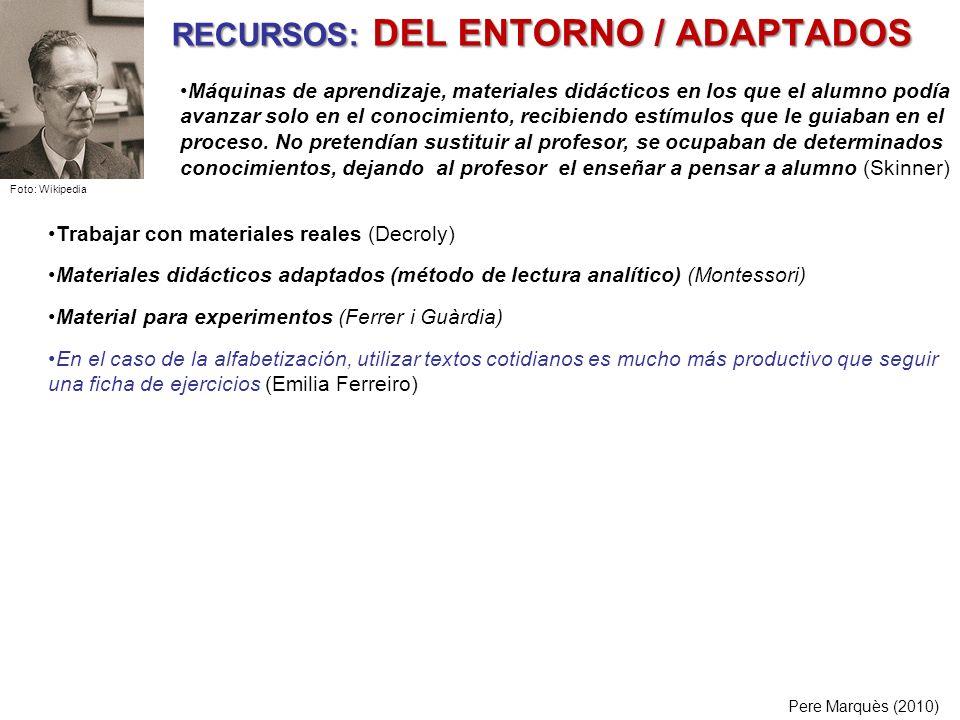 RECURSOS: DEL ENTORNO / ADAPTADOS Pere Marquès (2010) Trabajar con materiales reales (Decroly) Materiales didácticos adaptados (método de lectura anal