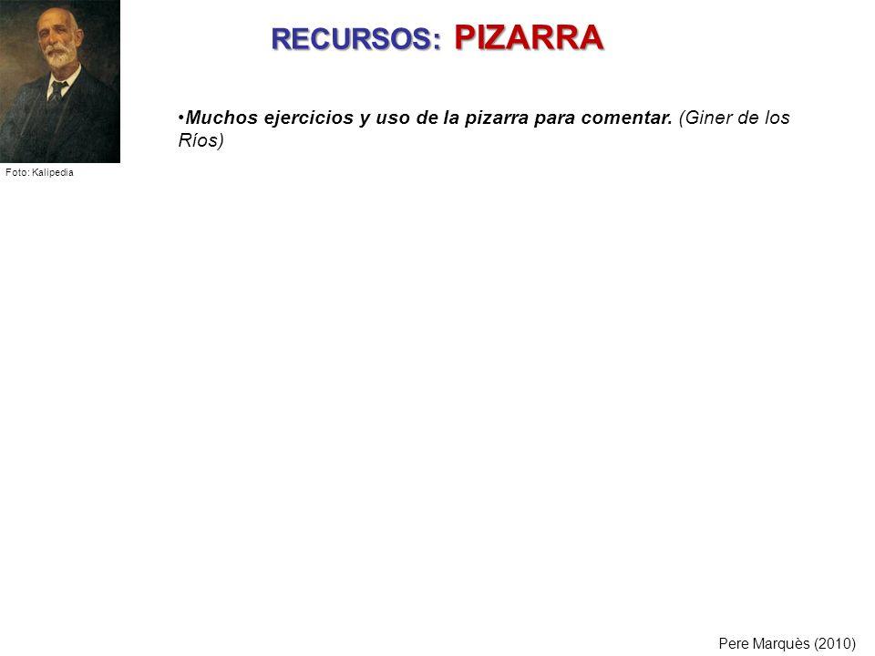 RECURSOS: PIZARRA Pere Marquès (2010) Muchos ejercicios y uso de la pizarra para comentar. (Giner de los Ríos) Foto: Kalipedia