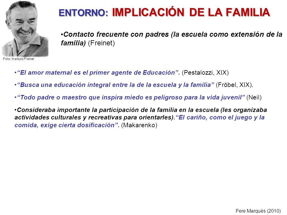 ENTORNO: IMPLICACIÓN DE LA FAMILIA Pere Marquès (2010) El amor maternal es el primer agente de Educación. (Pestalozzi, XIX) Busca una educación integr
