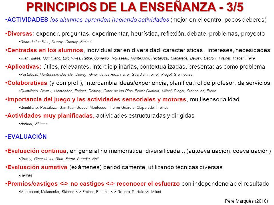 PRINCIPIOS DE LA ENSEÑANZA - 3/5 ACTIVIDADES los alumnos aprenden haciendo actividades (mejor en el centro, pocos deberes) Diversas: exponer, pregunta