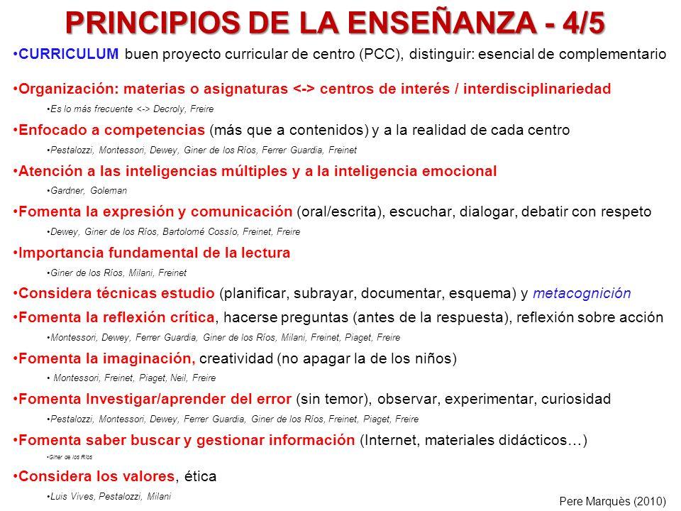 PRINCIPIOS DE LA ENSEÑANZA - 4/5 CURRICULUM buen proyecto curricular de centro (PCC), distinguir: esencial de complementario Organización: materias o