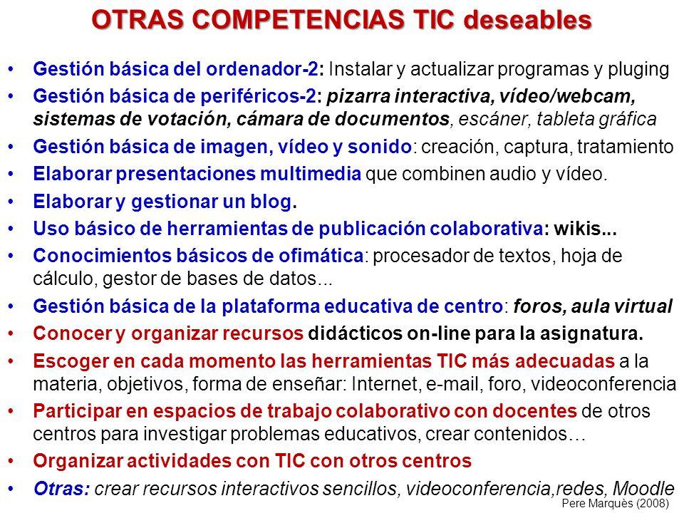 OTRAS COMPETENCIAS TIC deseables Gestión básica del ordenador-2: Instalar y actualizar programas y pluging Gestión básica de periféricos-2: pizarra in
