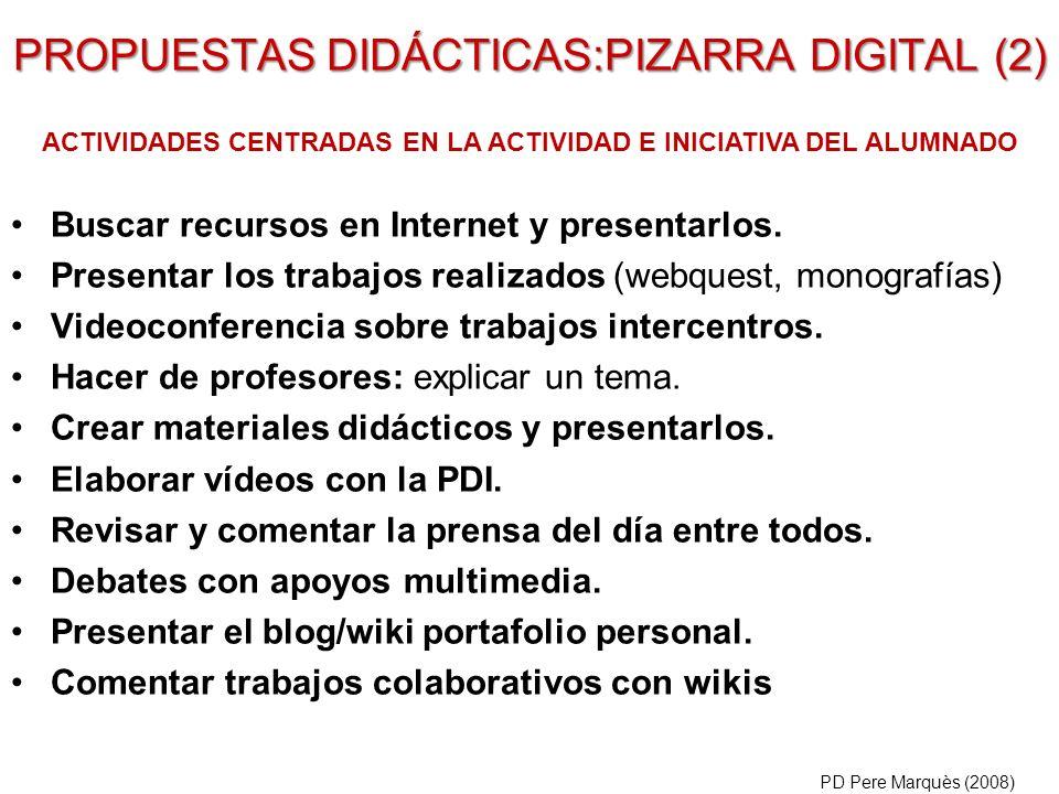 Buscar recursos en Internet y presentarlos. Presentar los trabajos realizados (webquest, monografías) Videoconferencia sobre trabajos intercentros. Ha