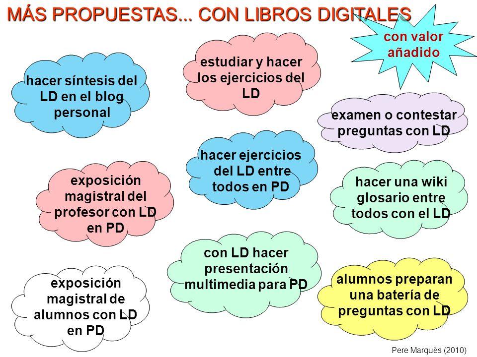 MÁS PROPUESTAS... CON LIBROS DIGITALES hacer síntesis del LD en el blog personal exposición magistral del profesor con LD en PD alumnos preparan una b