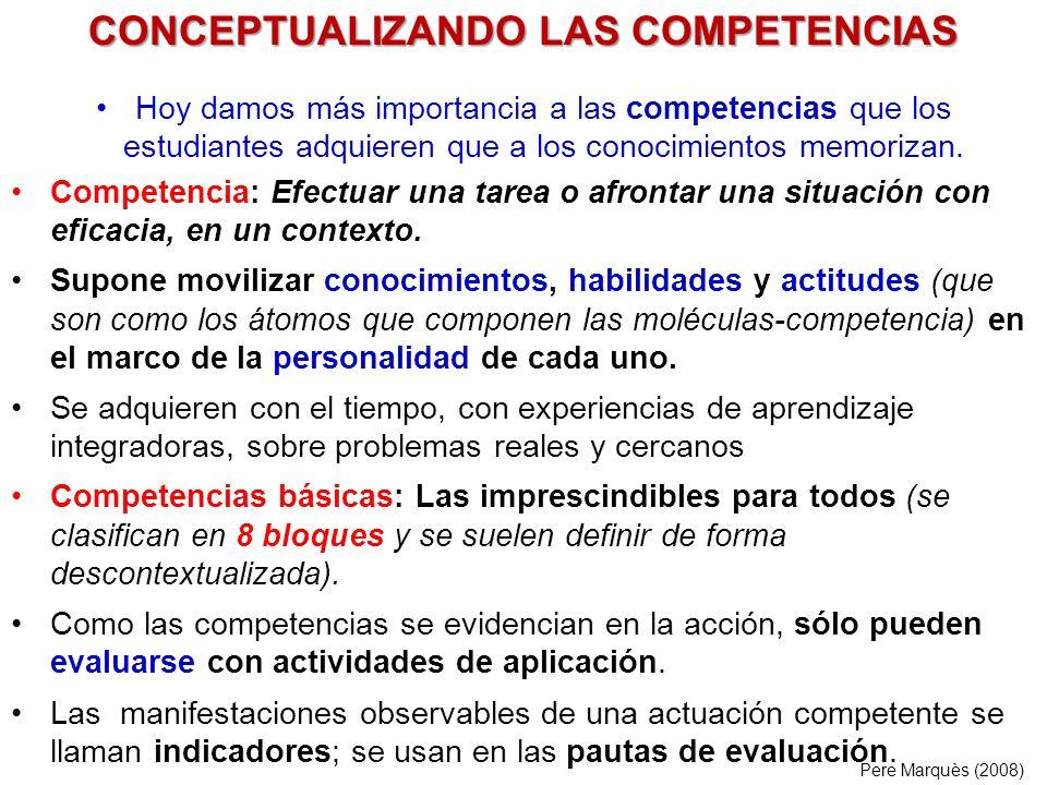 Hoy damos más importancia a las competencias que los estudiantes adquieren que a los conocimientos memorizan. Competencia: Efectuar una tarea o afront