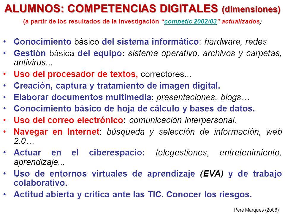 (a partir de los resultados de la investigación competic 2002/03 actualizados)competic 2002/03 Conocimiento básico del sistema informático: hardware, redes Gestión básica del equipo: sistema operativo, archivos y carpetas, antivirus...