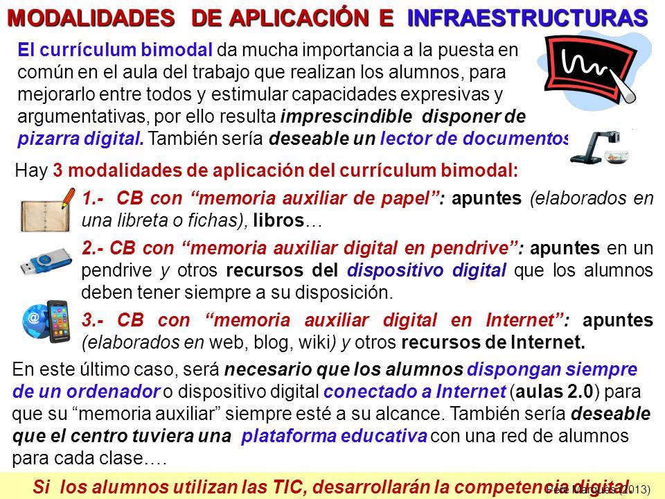 Si los alumnos utilizan las TIC, desarrollarán la competencia digital. Hay 3 modalidades de aplicación del currículum bimodal: 1.- CB con memoria auxi