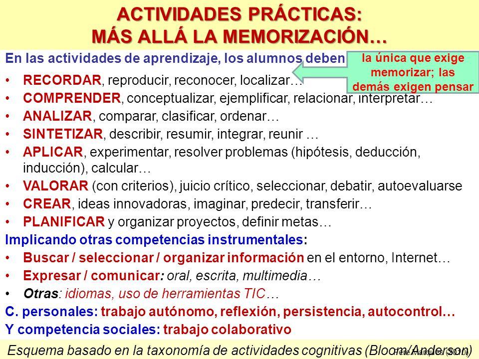 En las actividades de aprendizaje, los alumnos deben: RECORDAR, reproducir, reconocer, localizar… COMPRENDER, conceptualizar, ejemplificar, relacionar