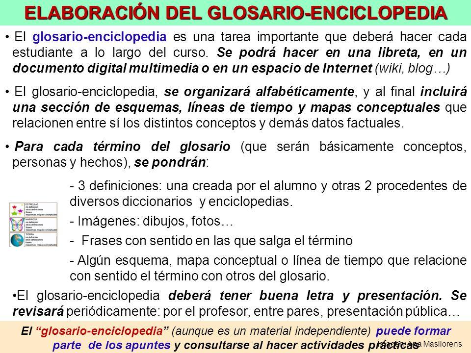 El glosario-enciclopedia (aunque es un material independiente) puede formar parte de los apuntes y consultarse al hacer actividades prácticas ELABORAC