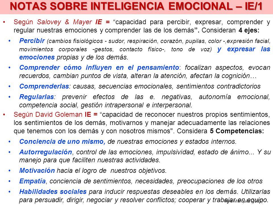 NOTAS SOBRE INTELIGENCIA EMOCIONAL – IE/1 Según Salovey & Mayer IE = capacidad para percibir, expresar, comprender y regular nuestras emociones y comp