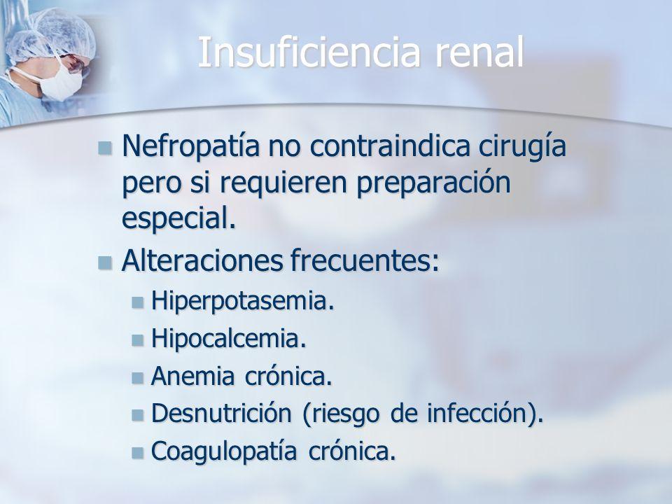 Insuficiencia renal Nefropatía no contraindica cirugía pero si requieren preparación especial. Nefropatía no contraindica cirugía pero si requieren pr