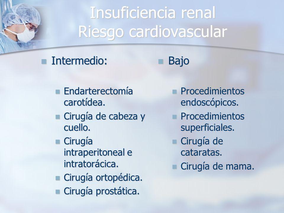 Insuficiencia renal Riesgo cardiovascular Intermedio: Intermedio: Endarterectomía carotídea. Endarterectomía carotídea. Cirugía de cabeza y cuello. Ci