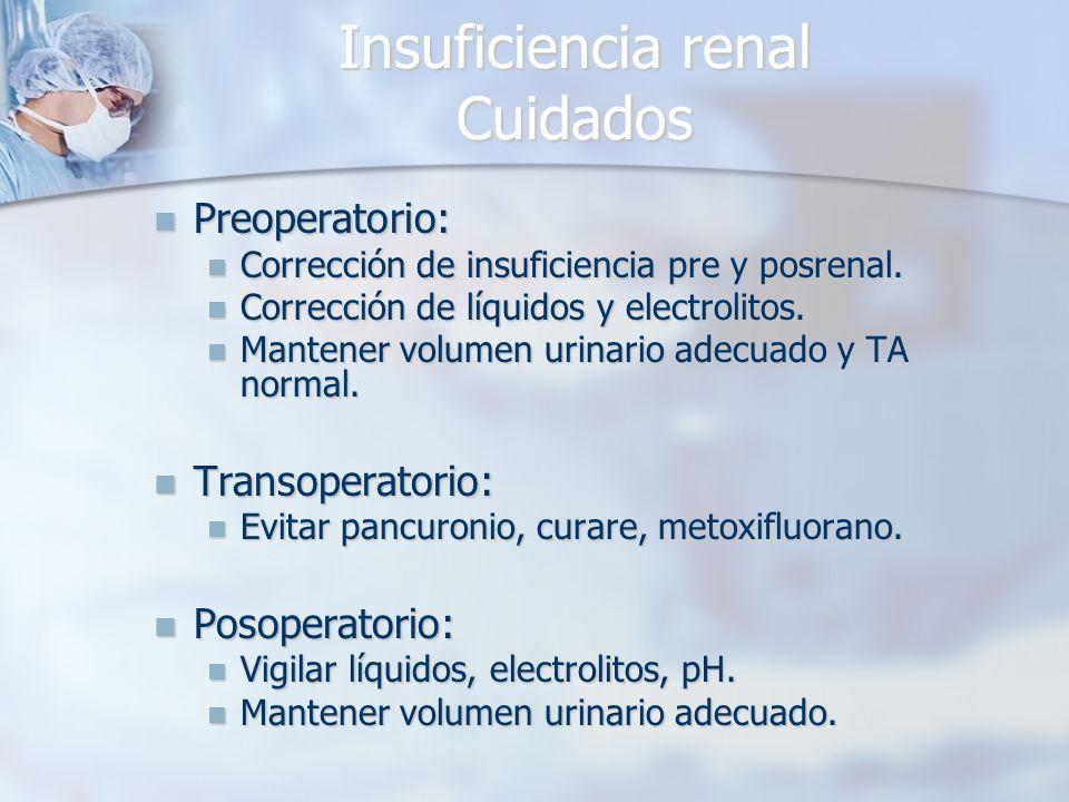 Insuficiencia renal Cuidados Preoperatorio: Preoperatorio: Corrección de insuficiencia pre y posrenal. Corrección de insuficiencia pre y posrenal. Cor