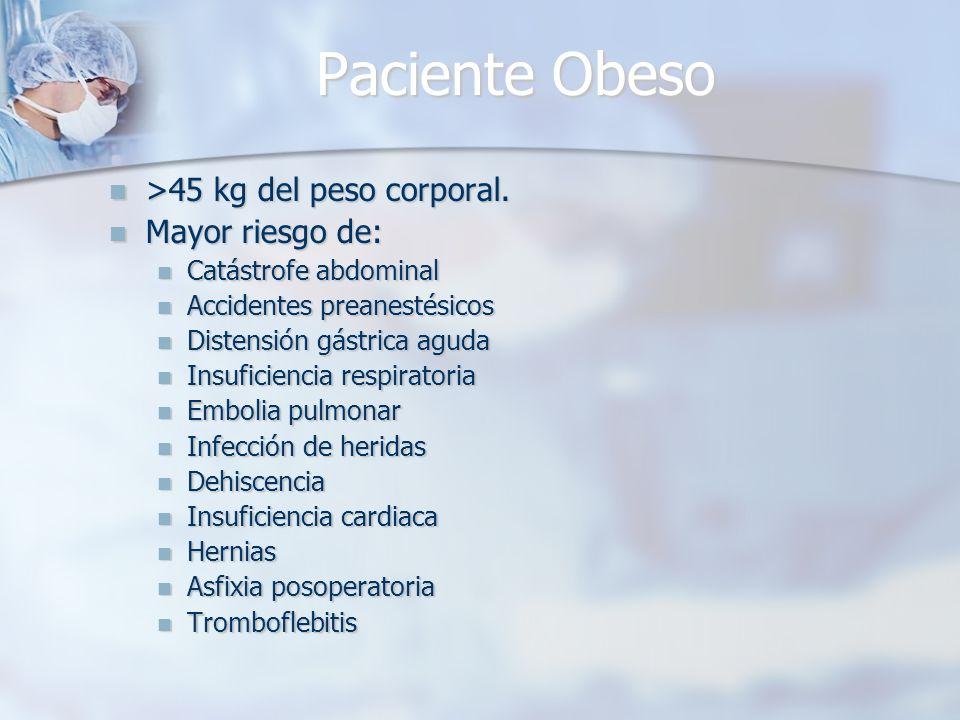 Paciente Obeso >45 kg del peso corporal. >45 kg del peso corporal. Mayor riesgo de: Mayor riesgo de: Catástrofe abdominal Catástrofe abdominal Acciden