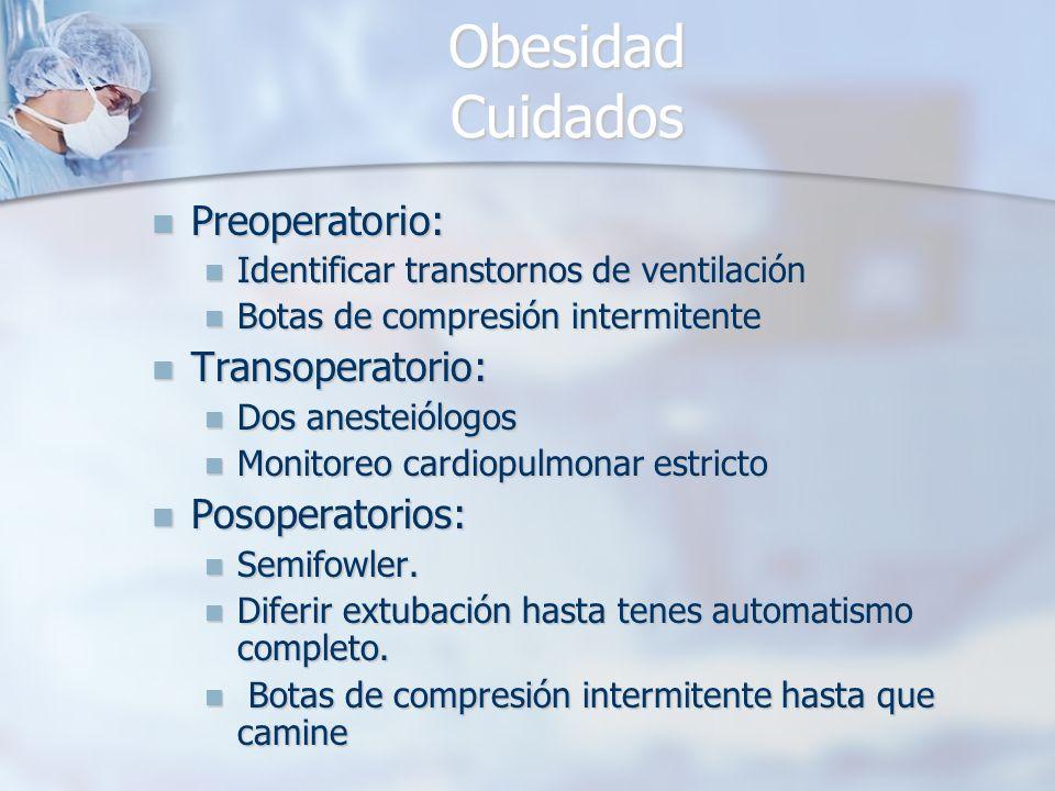 Obesidad Cuidados Preoperatorio: Preoperatorio: Identificar transtornos de ventilación Identificar transtornos de ventilación Botas de compresión inte