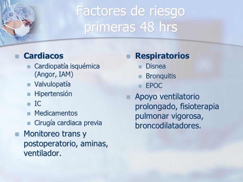 Factores de riesgo primeras 48 hrs Cardiacos Cardiacos Cardiopatía isquémica (Angor, IAM) Cardiopatía isquémica (Angor, IAM) Valvulopatía Valvulopatía