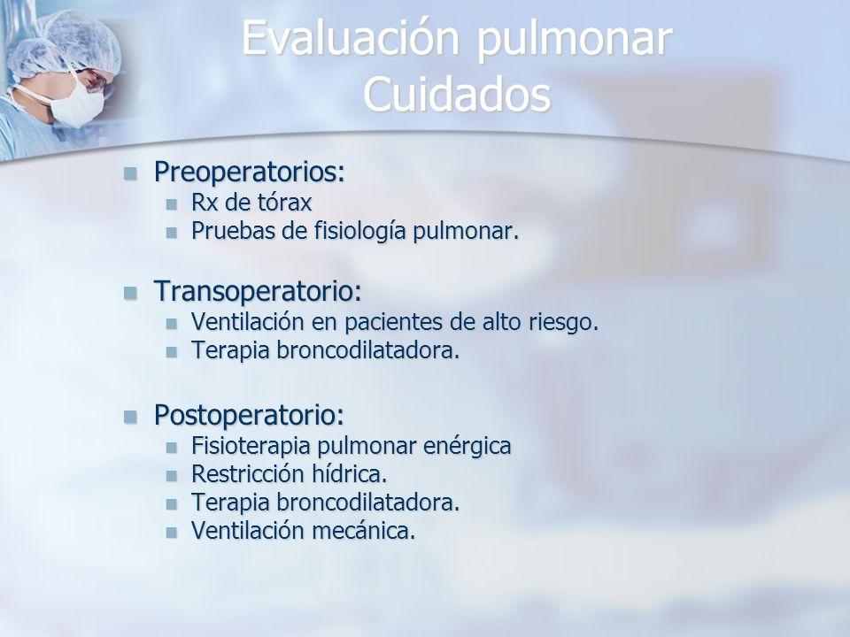 Evaluación pulmonar Cuidados Preoperatorios: Preoperatorios: Rx de tórax Rx de tórax Pruebas de fisiología pulmonar. Pruebas de fisiología pulmonar. T