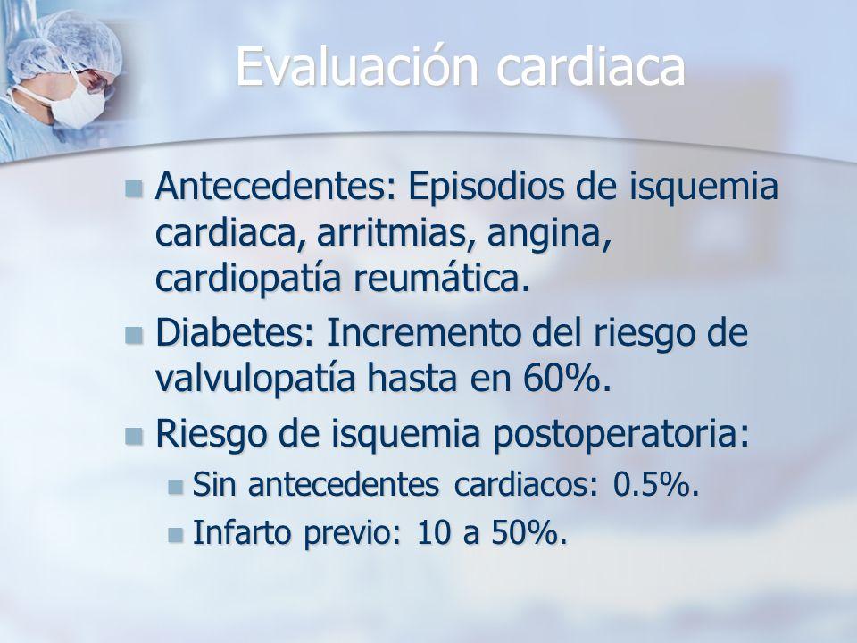 Evaluación cardiaca Antecedentes: Episodios de isquemia cardiaca, arritmias, angina, cardiopatía reumática. Antecedentes: Episodios de isquemia cardia