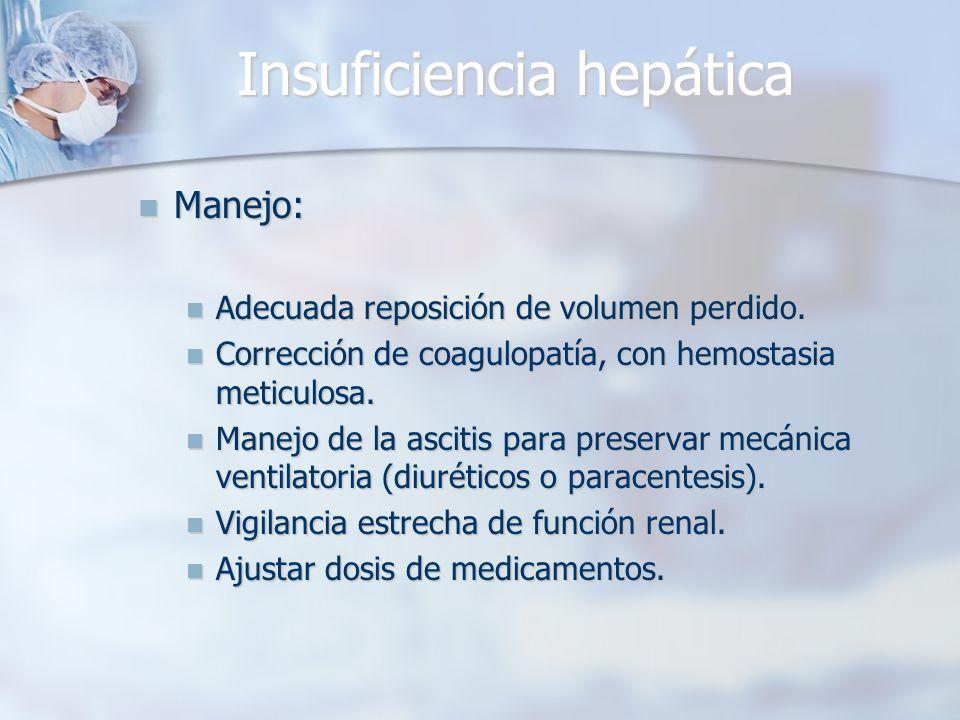 Insuficiencia hepática Manejo: Manejo: Adecuada reposición de volumen perdido. Adecuada reposición de volumen perdido. Corrección de coagulopatía, con