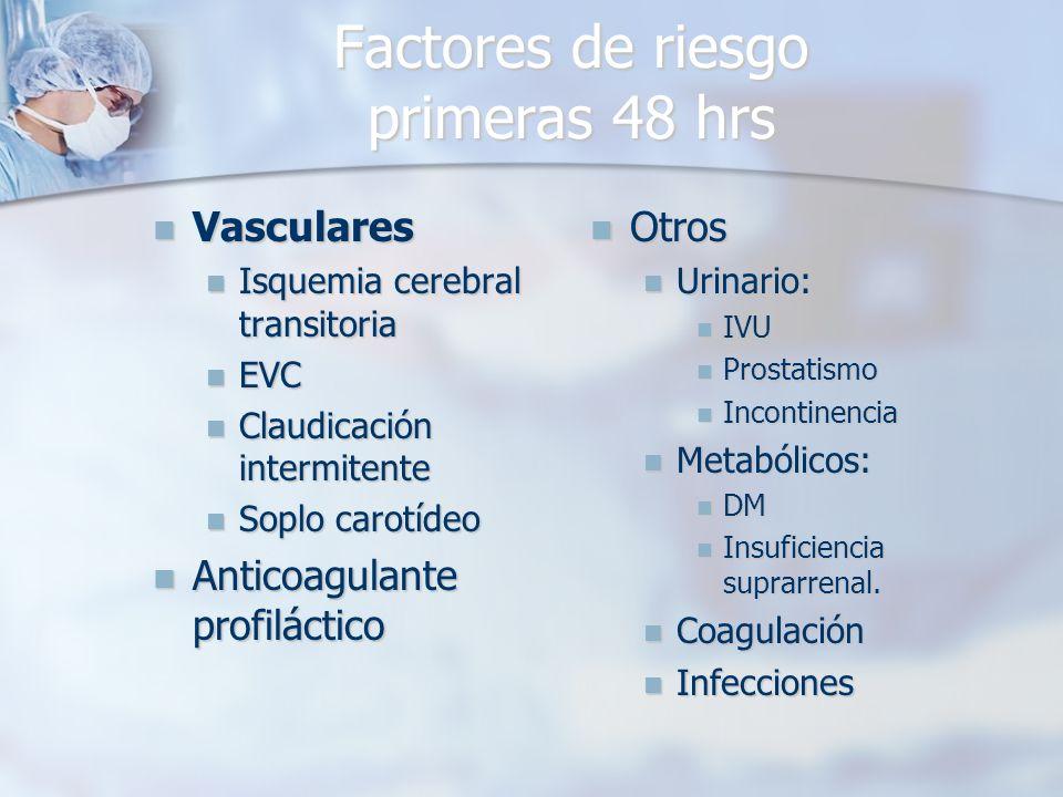 Factores de riesgo primeras 48 hrs Vasculares Vasculares Isquemia cerebral transitoria Isquemia cerebral transitoria EVC EVC Claudicación intermitente