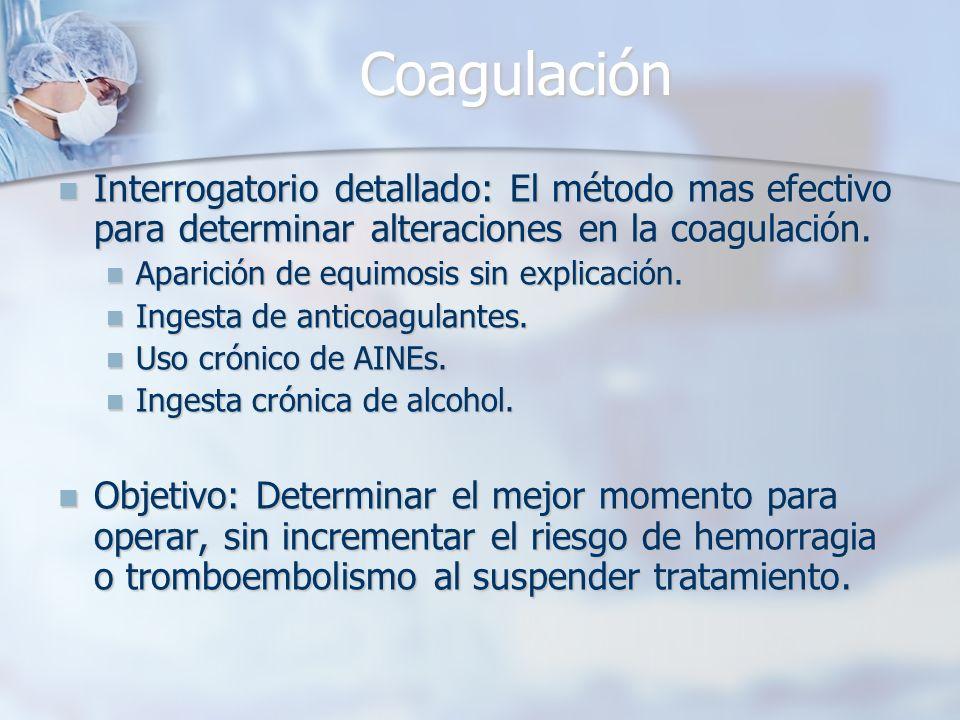 Coagulación Interrogatorio detallado: El método mas efectivo para determinar alteraciones en la coagulación. Interrogatorio detallado: El método mas e