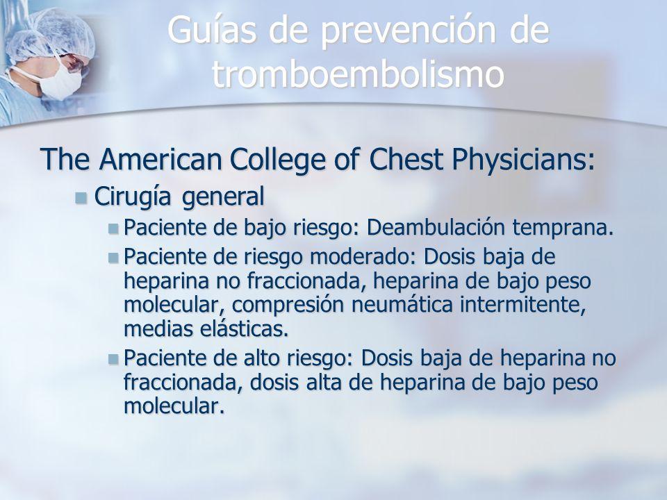 Guías de prevención de tromboembolismo The American College of Chest Physicians: Cirugía general Cirugía general Paciente de bajo riesgo: Deambulación