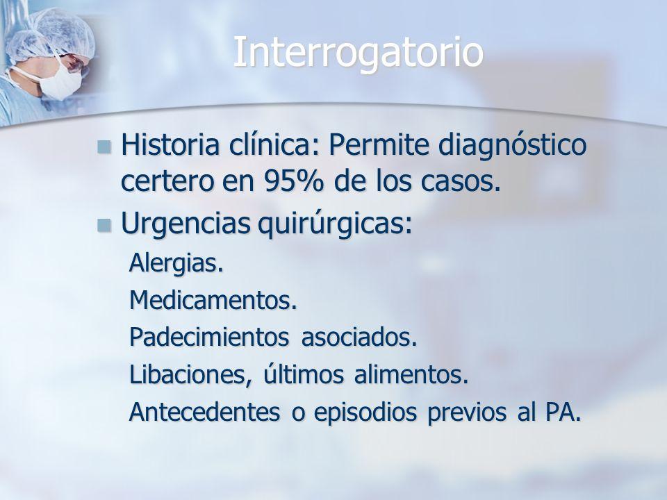 Interrogatorio Historia clínica: Permite diagnóstico certero en 95% de los casos. Historia clínica: Permite diagnóstico certero en 95% de los casos. U