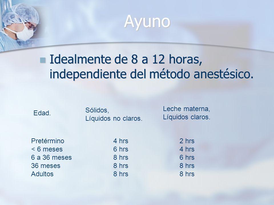 Ayuno Idealmente de 8 a 12 horas, independiente del método anestésico. Idealmente de 8 a 12 horas, independiente del método anestésico. Edad. Sólidos,