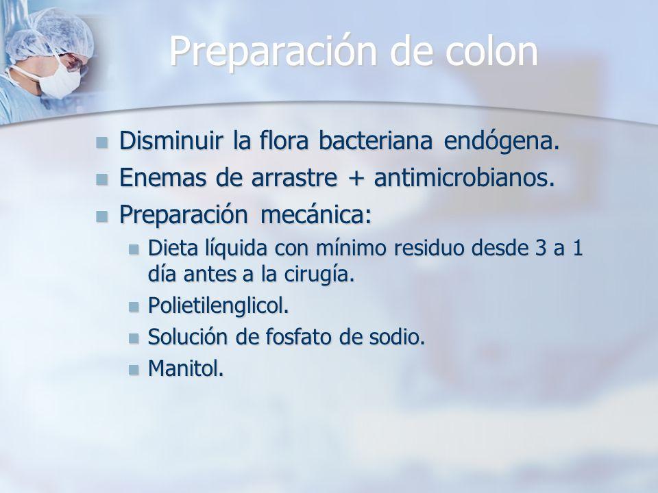 Preparación de colon Disminuir la flora bacteriana endógena. Disminuir la flora bacteriana endógena. Enemas de arrastre + antimicrobianos. Enemas de a