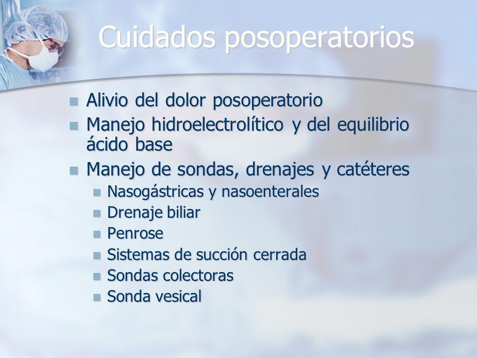 Cuidados posoperatorios Alivio del dolor posoperatorio Alivio del dolor posoperatorio Manejo hidroelectrolítico y del equilibrio ácido base Manejo hid