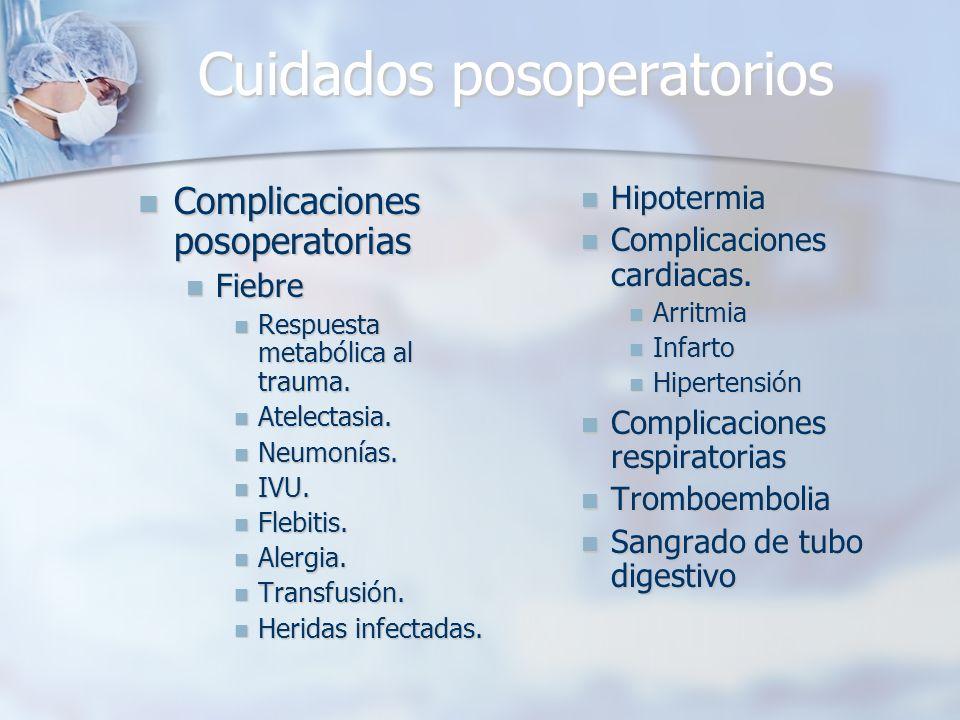 Cuidados posoperatorios Complicaciones posoperatorias Complicaciones posoperatorias Fiebre Fiebre Respuesta metabólica al trauma. Respuesta metabólica