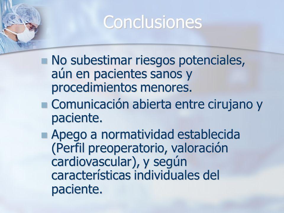 Conclusiones No subestimar riesgos potenciales, aún en pacientes sanos y procedimientos menores. No subestimar riesgos potenciales, aún en pacientes s