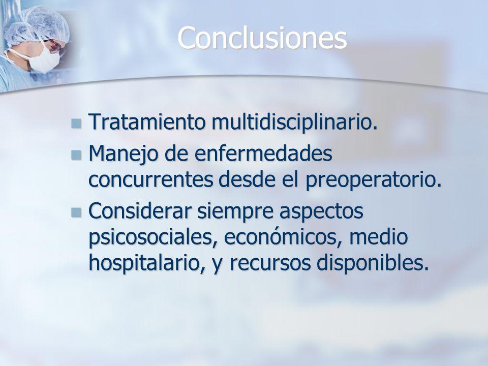 Conclusiones Tratamiento multidisciplinario. Tratamiento multidisciplinario. Manejo de enfermedades concurrentes desde el preoperatorio. Manejo de enf