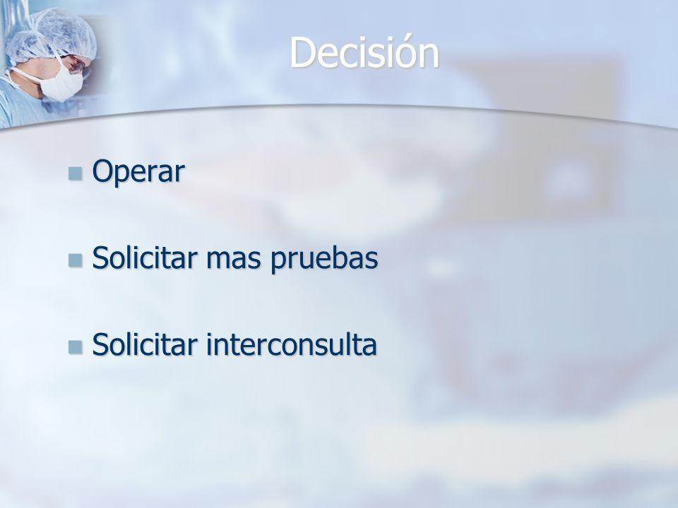 Decisión Operar Operar Solicitar mas pruebas Solicitar mas pruebas Solicitar interconsulta Solicitar interconsulta