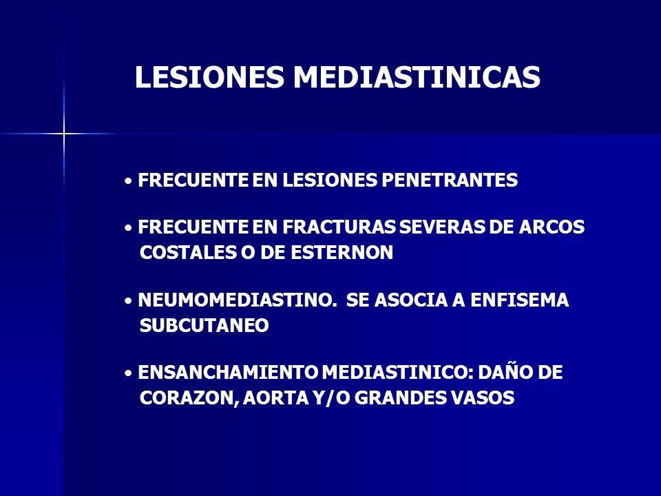 LESIONES MEDIASTINICAS FRECUENTE EN LESIONES PENETRANTES FRECUENTE EN FRACTURAS SEVERAS DE ARCOS COSTALES O DE ESTERNON NEUMOMEDIASTINO. SE ASOCIA A E